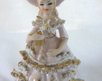 Lefton Pink Lady Figurine Lace Hanky Ruffle Gold Leaf Trim KW10307