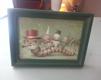 Vintage framed rare licensed MARK RYDEN Art Card Print 5 x 7 Great gift Santa Worm Christmas Surreal modern art low brow