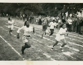 vintage photo 1950 Track & Field African AMerican Girl Racing Running Girls