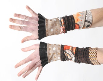 Ruffled jersey cuffs, Stretchy cuffs in black, brown, orange jersey patchwork with black ruffles, Gift for her, Womens accessories, MALAM