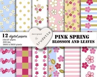 Digital  Paper: Spring Scrapbook Paper, pink spring, blossom and leaves, Digital Scrapbook Paper 12x12, Digital Download  , Floral paper