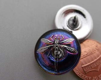 Small Czech purple and light lavender hue Irridescent glass dragon fly button 18 mm