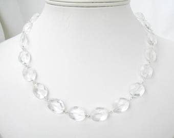 Clear Glass Necklace, Sterling Silver Link Necklace, Faceted Clear Oval Beaded Jewelry, Simple Formal 19 Inch Necklace, Handmade, Louisa