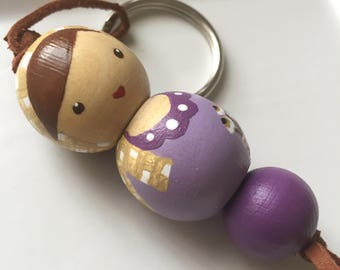 Hand Painted Doll Keychain