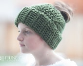 Messy Bun Hat Crochet Green RTS other colors available
