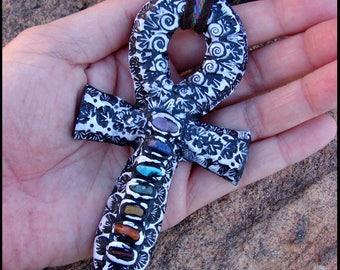 Beadworx - Clay & Gemstone Ankh Necklace and Meditation Tool