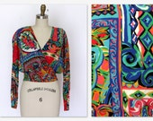 Carole Little 90's Bomber Style Blouse Bright Neon Abstract Print Gauze Cropped Top Sz. M