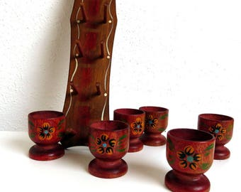Set of 6 Vintage Wooden Egg Cups, Red Brown Hand Painted, Wood Egg Cup Holder Wall Hanging, Etsy Easter Table