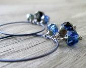 Titanium Hoops - Titanium Earrings - Boho Jewelry - Hypoallergenic Jewelry - Gift Idea - Sapphire Blue Hoops - Handmade Earrings
