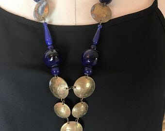 1970s necklace egyptian necklace middle eastern jewelry blue necklace vintage necklace ethnic necklace