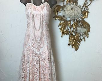 1980s dress mermaid dress lace dress size x small vintage dress prom dres gunne sax dress spaghetti strap
