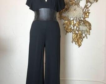1990s jumpsuit black jumpsuit size medium vintage jumpsuit bebes jumpsuit leather jumpsuit 27 waist