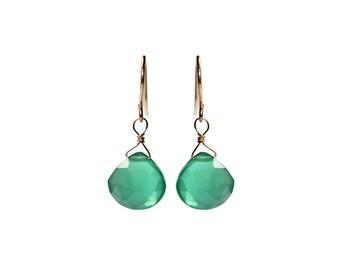 Green Onyx Earrings/Elegant and Simple Jewelry/Green Onyx/Handmade Gift/Drop Earrings/Gift for Her/Gift for Mom/Agate Earrings/Miriam Ariano