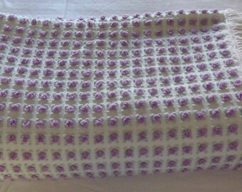 "RARE Morgan Jones Purple  Rosebud  90"" x 108"" Plus 3"" Fringe  Chenille Bedspread  Vintage Tagged Purple Rosebuds"