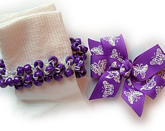 Kathy's Beaded Socks - (Sale)  Purple and White Lace Butterflies Beaded Socks and Hairbow, school socks, pony bead socks, purple socks
