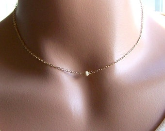 Tiny Gold Ball Necklace, Gold Layering Necklace, Gold Stardust Necklace, Dainty Gold Choker Necklace, Everyday Jewelry, Minimalist Jewelry