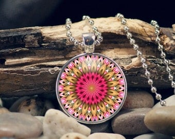 Kaleidoscope Pendant, Kaleidoscope Necklace, Pink and Gold, Mandala, Gift for her, One Inch, Art Photo Necklace, Kaleidoscope Keyring