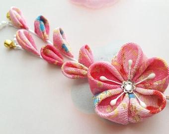 Pink Fuchsia Blue Gold Cherry Blossom Kimono Chirimen Fabric Flower Hair Clip