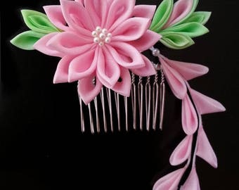 Kanzashi Silk Flower Hair Comb Pink Mum Kawaii Geisha Maiko Prom Cosplay Party Prom - Made To Order