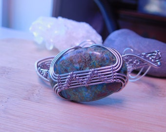 Chrysocolla Malachite Drop Cabochon Titanium Parawire Wire Cuff Bracelet Wire Wrapped Jewelry Handmade Weave Blue Green and Brown Stone