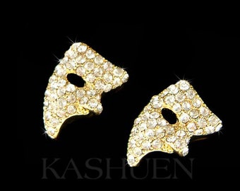 Swarovski Crystal Phantom of the Opera Masquerade Mask Gold Tone Stud Earrings Jewelry Womens Christmas Best Friend BFF Birthday Gift New