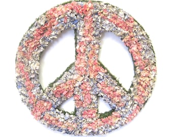 Pink Blue Larkspur Dried Flower Peace Sign Wreath
