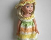 "14.5"" Doll Clothes Hand Knit Dress and Hat Handmade to fit Wellie Wishers - Yellow Orange White Green Summer Dress and Hat - Ready to Ship"