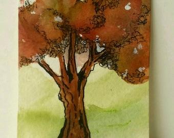 Mini Tree Art, Original ACEO Painting, Niche Art, Tree Gift, Deciduous, Collectible Tree Art, Watercolor & Ink, Miniature Originals, Oak