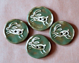 4 Handmade Ceramic Buttons -  Leaping Hare Buttons - Sweet Rabbit Stoneware Buttons in Woodland Evergreen Glaze - Artisan Focal Buttons