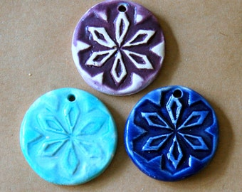 3 Handmade Stoneware Pendants - Rustic Snowflake Beads in Purple, Rustic Sky Blue and Gloss Blue Glazes - Sweet Winter Charms