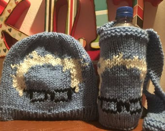 Gift set Bernie beanie and Bernie water bottle coozie holder knitted Bernie Sanders protest march