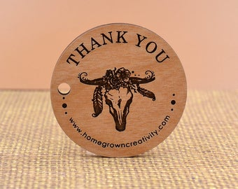 """Custom Wood Thank you Tags Boho Skull Feather Antlers  