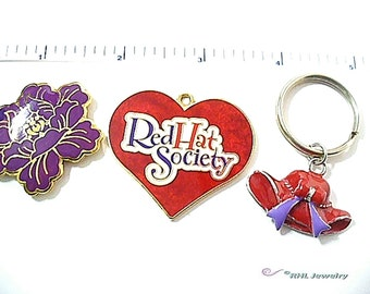 Pendant, Keychain, Bead Supplies Red Hat Society Theme -S69