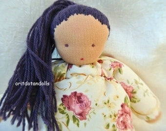 Waldorf doll, pillow doll- 9inch\22.5cm- handmade of natural eco materials, no machine involved,בובת וולדורף