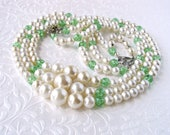 Multi Strand Beaded Necklace Large Faux Pearl and Green Glass Bead 3 Strands Vintage Costume Jewelry Prom Wedding Bridal Pantone Greenery