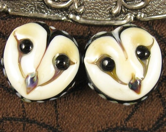 Owl Faces pair Bead Set by Kerribeads