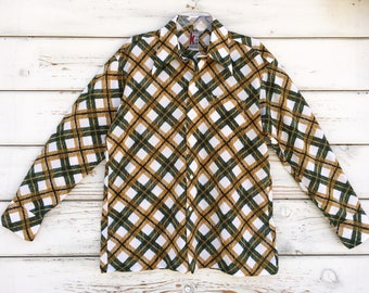 Vintage 70s shirt,geometric ,green,white,hipster,graphic,long sleeve,stylish,hippie,checkered,brown,unique,cool,hip,Jandy Place collection