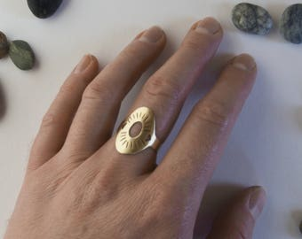 Embossed Brass Oval Statement Size 7.5 Ring - custom sizing possible