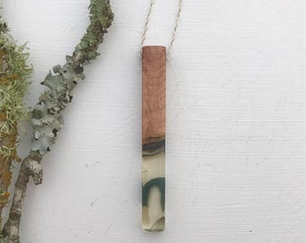 Clear and black resin wood pendant, necklace, handmade, gloss finish