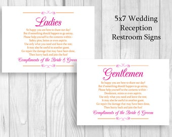 Printable 5x7 Hot Pink/Fuschia and Orange Wedding Reception Womens and Mens Restroom Signs - Bathroom Basket Signs - Instant Download