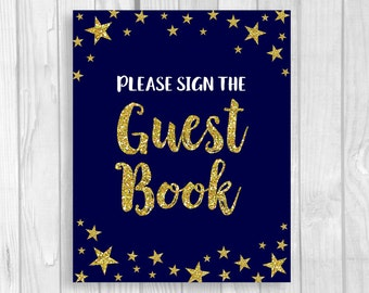 Twinkle Twinkle Little Star Printable 5x7 or 8x10 Baby Shower Guest Book Sign - Midnight Blue and Gold Glitter - Instant Download