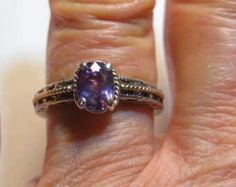 Purple Sapphire 14 kt Gold and Sterling Silver Ring..... STUNNINGLY Beautiful ........ size 7 or size N 1/2 for my UK friends ...  e989