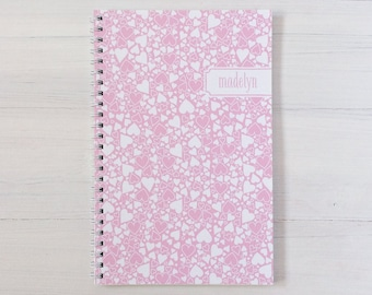 heart bubbles personalized notebook - choose your color