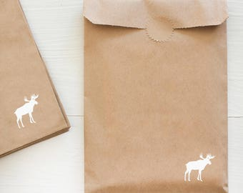 kraft paper bag with white foil for gifts and treats - moose