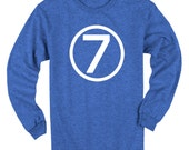 Seventh Birthday Shirt Long Sleeve Heather Royal Blue Kids 7th Birthday T-Shirt