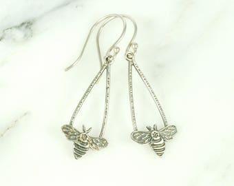 Honeybee Earrings - handmade sterling silver bee jewelry with hypoallergenic ear wires