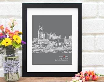 Nashville Skyline, Nashville Tennessee Engagement Gift, Personalized Tennessee City Wedding, First Anniversary, Bridal Shower - 8x10 Art
