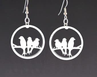 3 Birds Earrings  Recycled earrings  Pierced earrings Dangle earrings lightweight earrings Upcycled jewelry Recycled jewelry Mark Noll