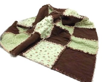 Flannel Rag Quilt Mint Green / Brown/ Polka Dots / Eat Poop Laugh Cry Sleep Nap