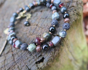 Double Wrap Bracelet OR Choker Necklace - Hippie Feather Hamsa Pendant - Dark Wood, Jade, Turquoise, Red Garnet - Free Spirted Good Vibes